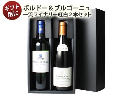 ワイン プレゼント 送料無料 ワインセット ギフトBOX付き 一流ワイナリーで揃えたボルドー・ブルゴーニュ産赤白ワイン2本 10000円 御祝 誕生日 ハロウィン ギフトワインセット 沖縄・離島は別料金加算