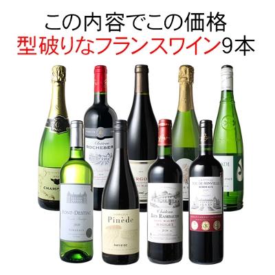 ワインセット 渾身 フランスワイン 9本 セット ボルドー ブルゴーニュ カオール ローヌ ラングドック パーティー 家飲み 御祝 誕生日 ハロウィン ギフト 型破り