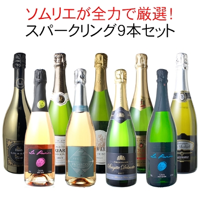 ワインセット 全力全開 スパークリングワイン 9本 セット シャンパン入 カヴァ入 辛口 飲み比べ パーティー