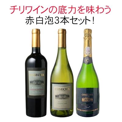 チリワインの底力が味わえる、コセチャ赤・白・スパークリング3本セット!