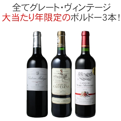 ワインセット  2010年 ボルドー 当り年 3本セット ハロウィン ギフト プレゼント 赤ワイン ビッグ・ヴィンテージ